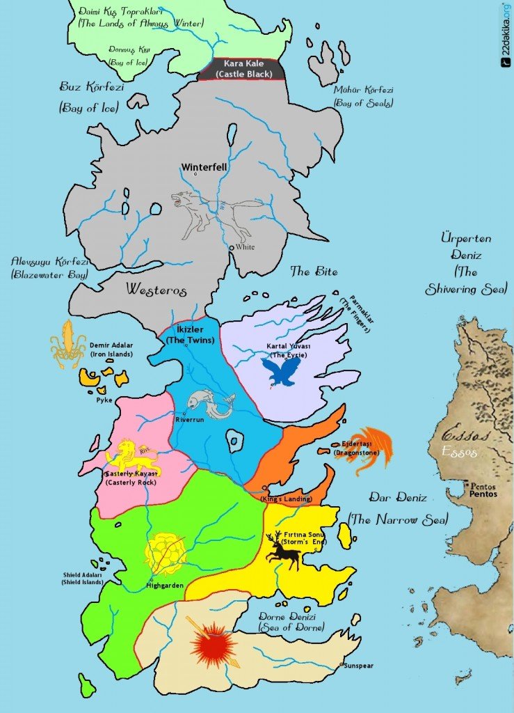 Game of Thrones Map, seven kingdom, yedi krallık